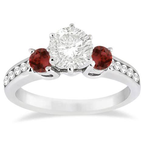 Ruby 5 45 Ct three garnet engagement ring 14k white