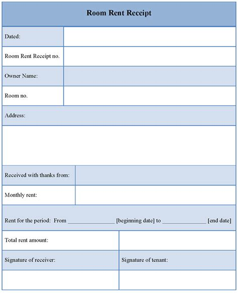 receipt template for room rent sle of room rent