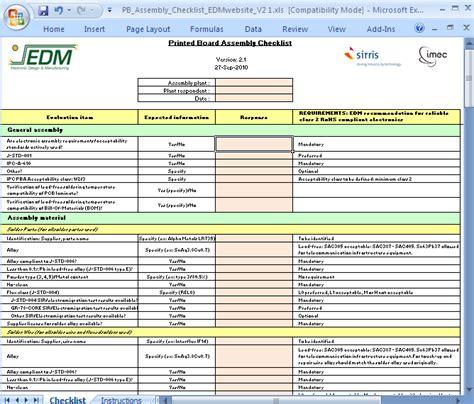 printed board assembly checklist cedm