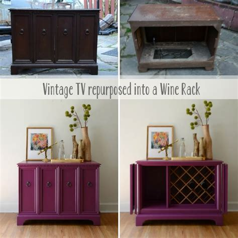repurposed furniture ideas tv cabinet before and after vintage tv repurposed into a wine rack by