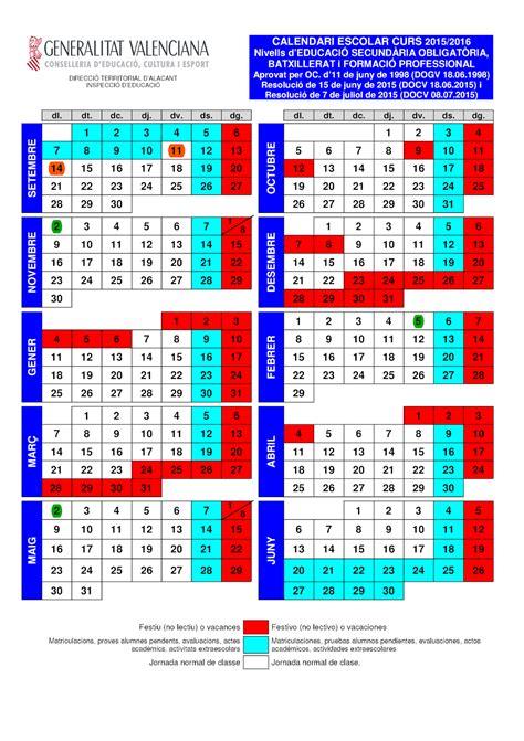 Calendario Escolar 2015 16 Ies La Foia Calendario Escolar 2015 16
