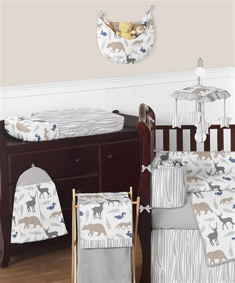 Woodland Animals Crib Bedding Gray White Forest Animal Safari Deer Fox Neutral Baby Boy Bedding Crib Set Ebay