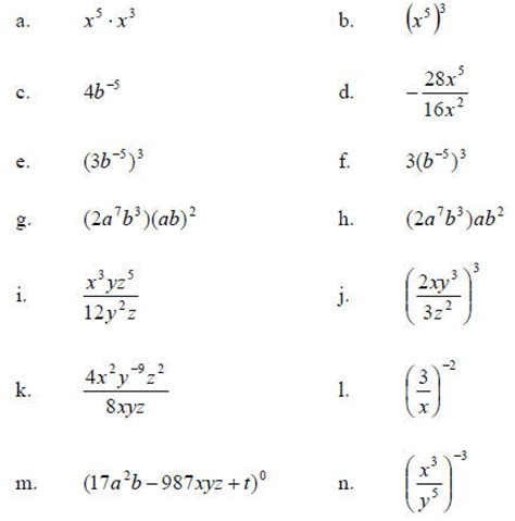 Simplifying Exponents Worksheet by Worksheet Simplifying Negative Exponents Worksheet