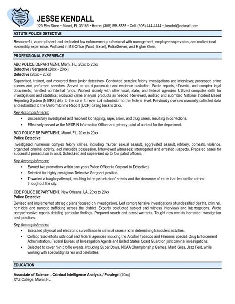 Detective Resume by 25 Best Ideas About Officer Resume On