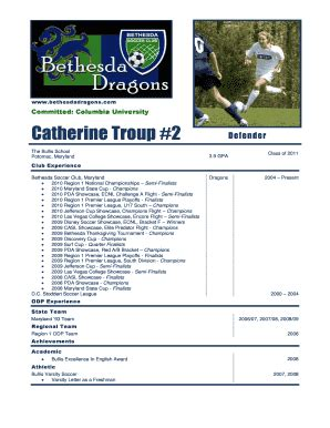 Football Cv Download Forms And Templates Fillable Printable Sles For Pdf Word Pdffiller College Soccer Player Profile Template