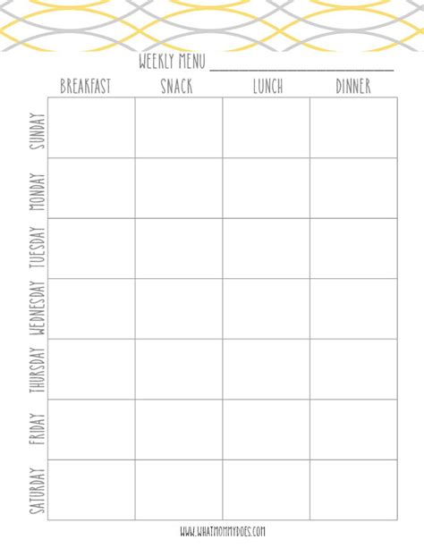 dinner planning template free printable blue meal plan template