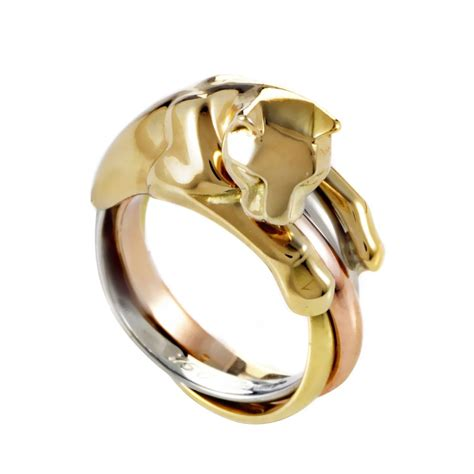 cartier panthere three color gold ring at 1stdibs