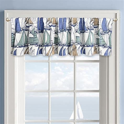 sailboat window curtains sailboat window valance in white bed bath beyond