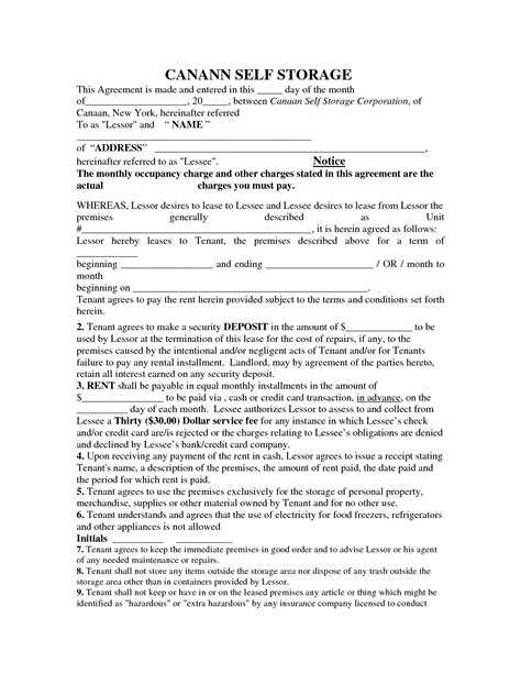 storage rental template 28 storage lease agreement free printable renters