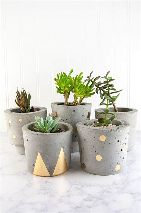 planters and pots make concrete and gold diy plant pots