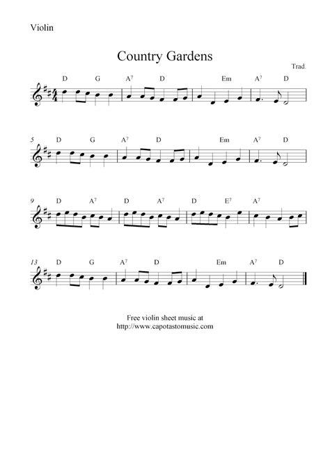 printable violin sheet music free violin sheet music country gardens