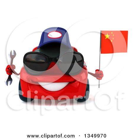 Clipart Of A 3d Red Porsche Car Mechanic Wearing