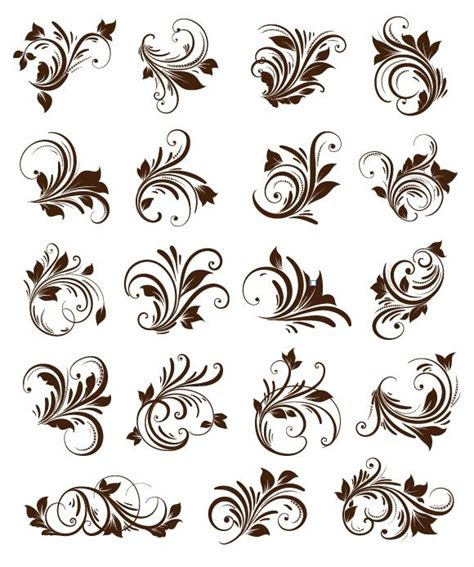 design grafis ornamen floral ornament element vector graphics free vector