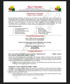 Preschool Resume Objective Exles by Exle Of A Preschool Resume Objective Resumes