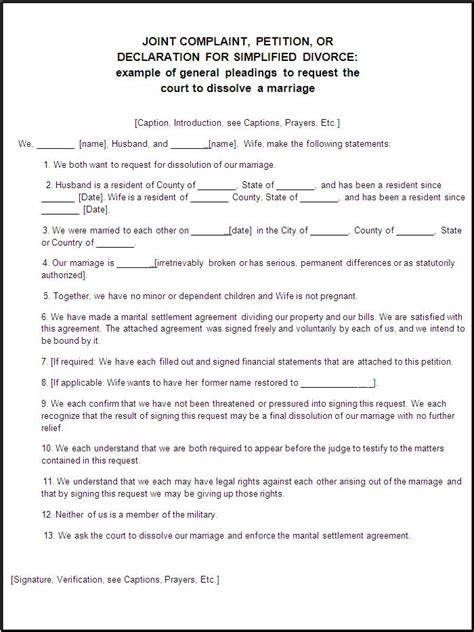 divorce template divorce forms free word s templates