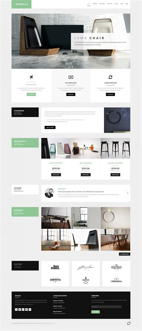template joomla hikashop studioshop furniture gallery shop template featuring
