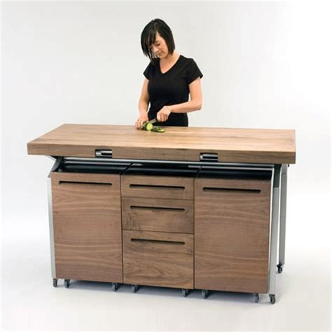 Expandable Dining Table Doubles As Compact Kitchen Island Compact Kitchen Table