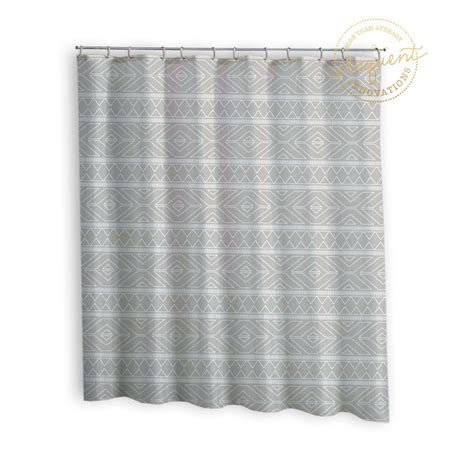 Grey Fabric Shower Curtain Tribal Look Grey Shower