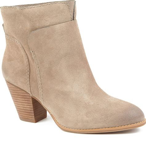nine west hollyday suede ankle boots in brown taupe lyst