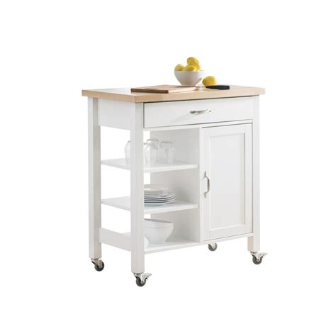 Kitchen Cart Cabinet Sunjoy Greenwich White With Wood Top Kitchen Cart With 1 Drawer 1 Cabinet And 3 Shelves