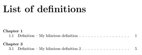 Definition Of Table Of Contents by Table Of Contents Toc Like List Of Definitions Using