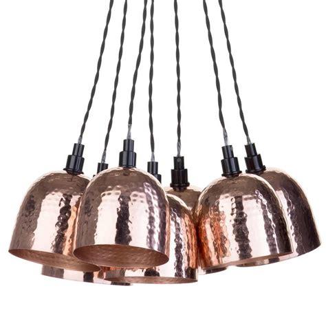 cluster pendant light kit 7 light cluster ceiling pendant copper hammered shades