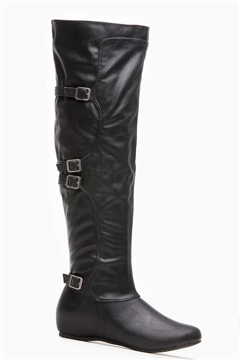 Ca Jumpsuit Set Inner Nila bamboo black leatherette buckle knee high boots cicihot