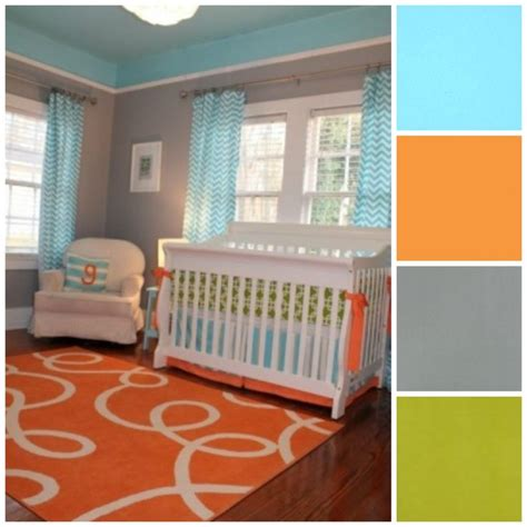 orange nursery curtains baby nursery baby nurseryidea green orange blue gray