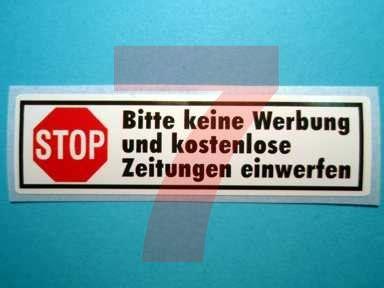 Aufkleber Stop Bitte Keine Werbung Und Kostenlose Zeitungen Einwerfen by Bitte Keine Werbung Aufkleber F 252 Rth N 252 Rnberg Zirndorf