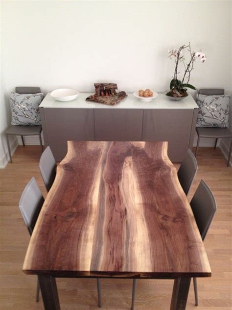 reclaimed black walnut live edge dining table modern