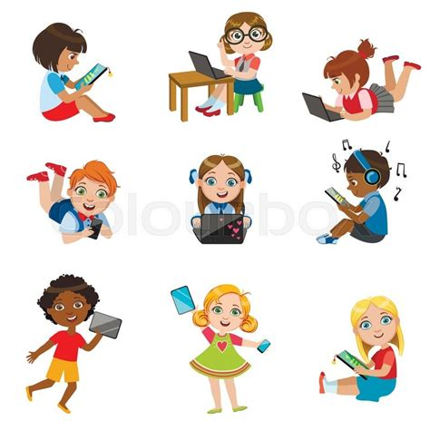 imagenes de niños jugando tablet kids with gadgets set of bright color isolated vector