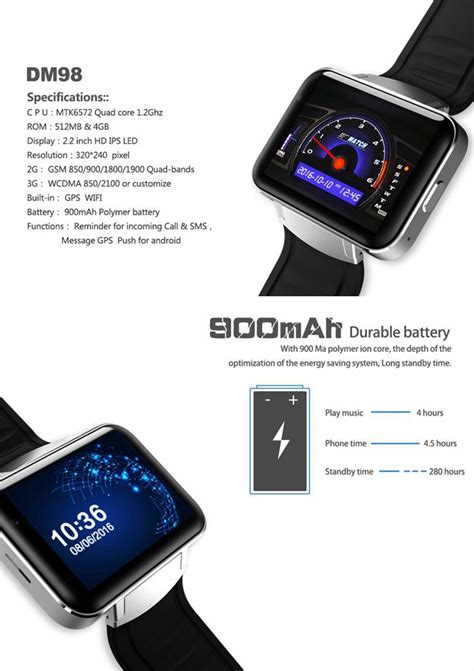 Android Smart Dm98 Rate Smartwatch Dm 98 Black dm98 3g smart phone 320 240hd resolution 2 2inch large screen 3g wifi gps support