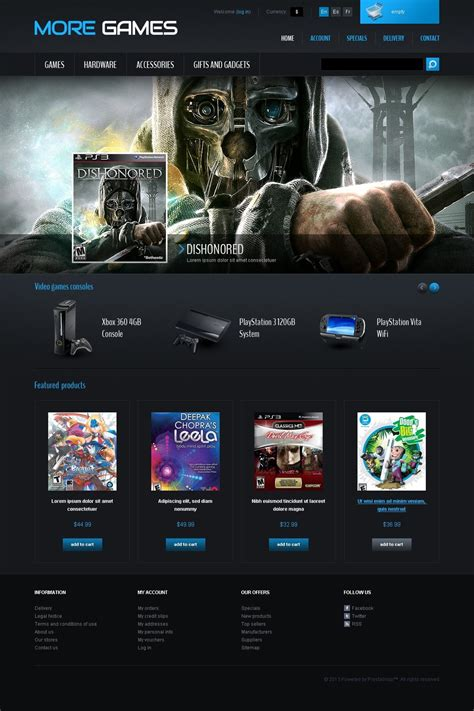 html game themes games consoles prestashop theme 42665