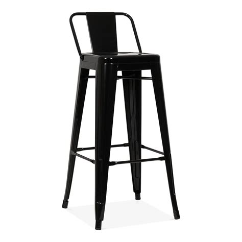 bar stool with back rest tolix style metal bar stool with low back rest black 75cm