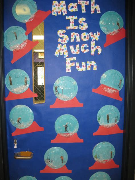 math like christmas door decorations snow globes made with clear and turquoise plates artificial snow inside