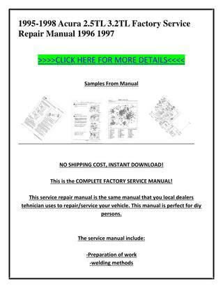 1996 acura tl owners manual original 2 5tl 3 2tl 1995 1998 acura 2 5tl 3 2tl factory service repair manual 1996 1997 by ion ion issuu