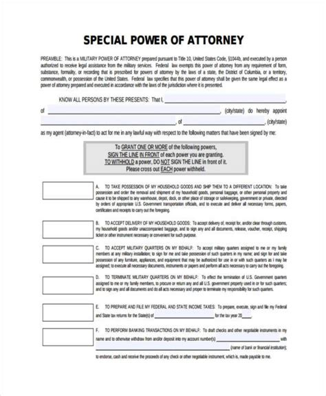 special power of attorney form power of attorney forms in pdf