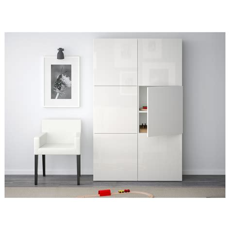 besta high gloss best 197 storage combination with doors white selsviken high