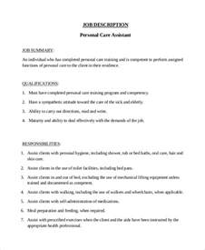 Personal Care Assistant Duties sle personal assistant description 9 exles in pdf word