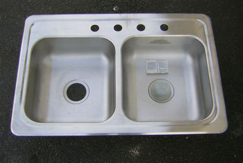 Stainless Steel Double Kitchen Sink 33x22 NEW   eBay