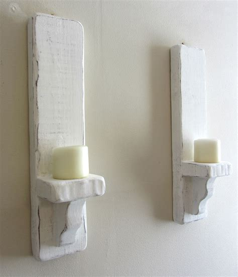 Pair Of 50cm Distressed White Solid Wood Shabby Chic Wall Shabby Chic Wall Sconces