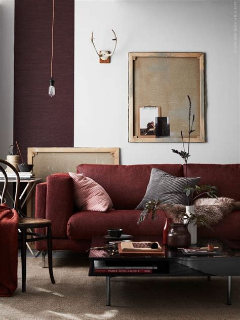 decorating  neutral living room   burgundy couch