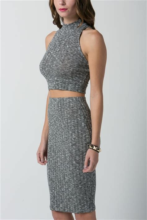 knitted crop top and skirt rib knit crop skirt set on storenvy