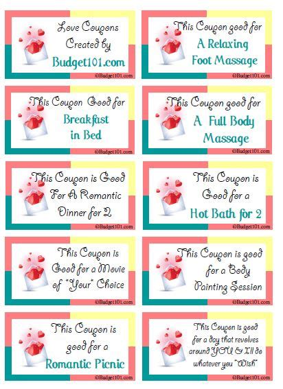 printable love massage coupons romantic coupon ideas love coupons for valentines and