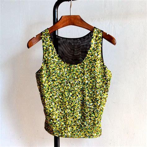 Luxury Top Blouse Crop Bludru luxury giltter sequin vest summer cami tank