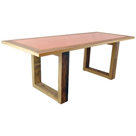 modern wood and copper dining table by michelangeli italy