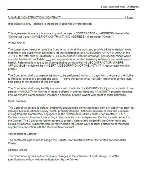 31 Free Construction Contract Templates Doc Word Pdf Sles Construction Contract Template Pdf