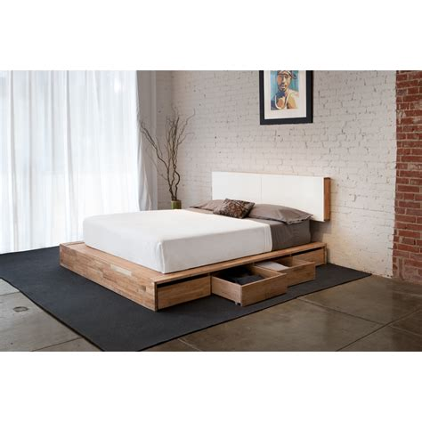 White Bed With Drawers by Brown Wooden Low Profile Bed Combined With Drawers