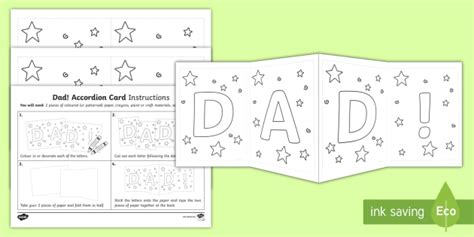 Dad Accordion Gift Card Template Dad Accordion Card Template Accordion Card Template