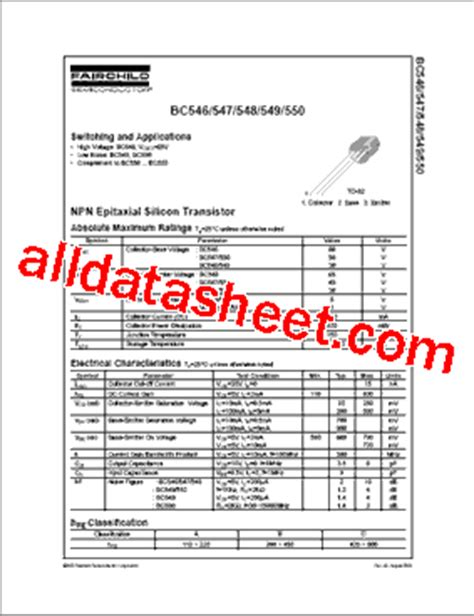 bc547 transistor fairchild bc547 datasheet pdf fairchild semiconductor